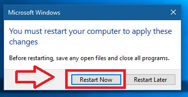 2d856fe19e9 ... close all the open windows and click on restart now button. Else, if  you want to restart your system later click on restart later option.