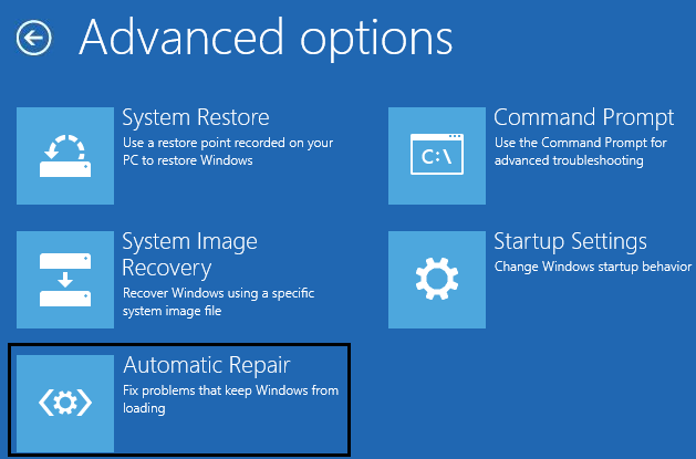 click on automatic repair