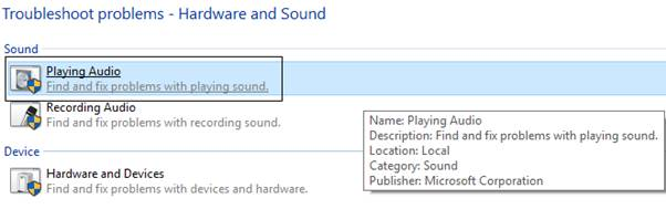 click-on-playing-audio-in-troubleshoot-problems