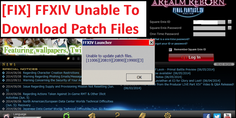 Ffxiv Unable To Download Patch Files 30413 25008