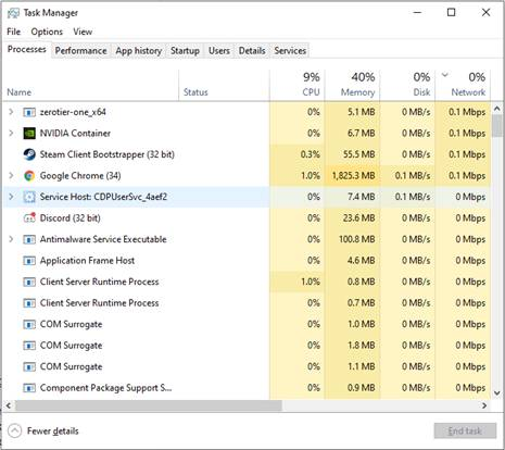 """Processes"" section of the task manager"