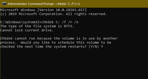 """Type """"Y"""" in the command prompt and press """"Enter"""""""